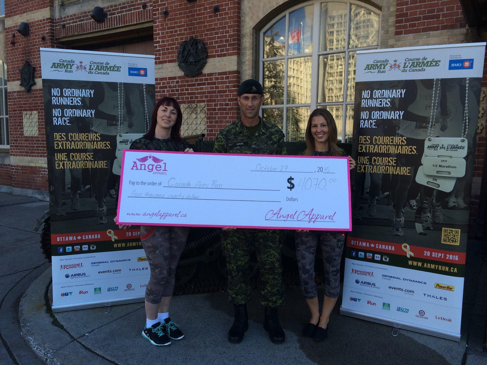 Army run cheque presentation